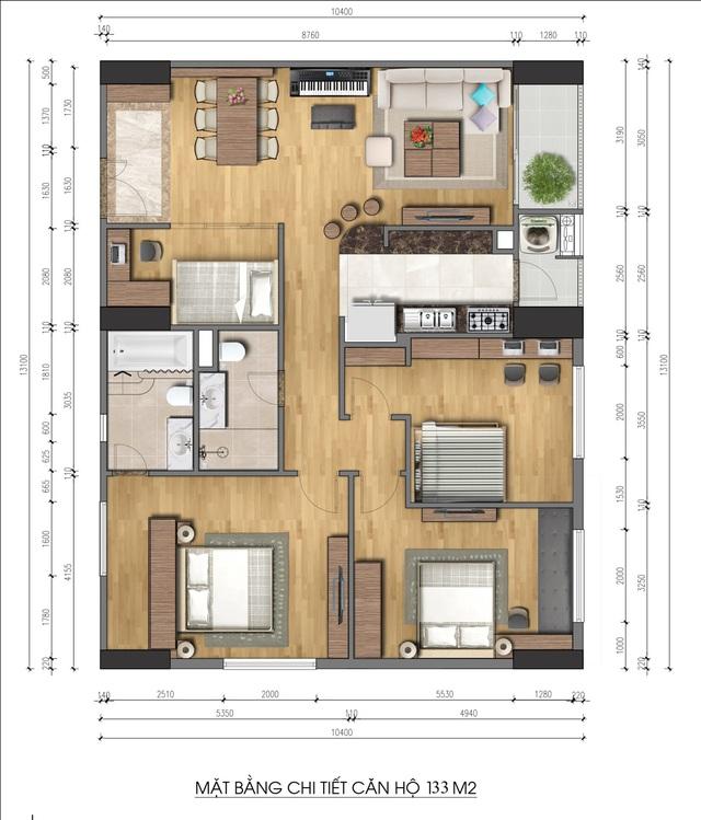 Mặt bằng chi tiết căn hộ 133 m2 4 phòng ngủ giá chỉ 3,1 tỷ đồng.