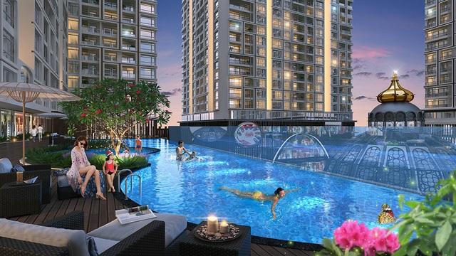 Bể bơi tràn bờ vô cực là một trong những điểm nhấn tiện ích cao cấp của dự án Hinode City.