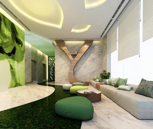 Sảnh căn hộ mùa xuân với thiết kế thông thoáng, hiện đại.
