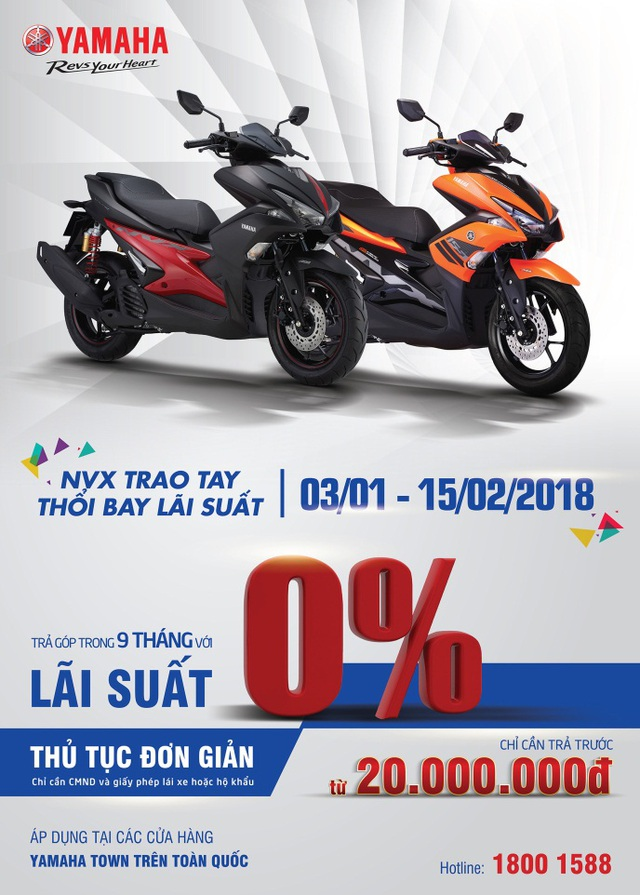 Yamaha ưu đãi lãi suất 0% cho khách hàng mua trả góp xe tay ga thể thao NVX - Ảnh 1.