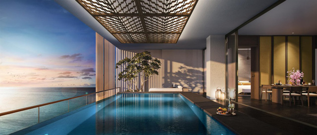 Mỗi căn Sky Villas Regent Residences Phu Quoc đều sở hữu tầm nhìn rộng mở với bể bơi vô cực riêng.
