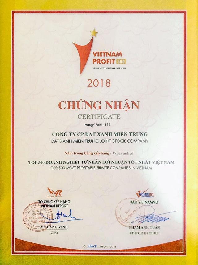 Đất Xanh Miền Trung bứt phá vị thế mới tại giải thưởng top 500 doanh nghiệp lợi nhuận tốt nhất Việt Nam 2018 - Ảnh 1.