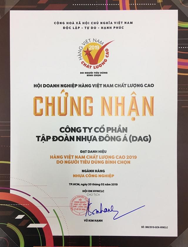 DAG đạt danh hiệu Hàng Việt Nam chất lượng cao 2019 - Ảnh 2.