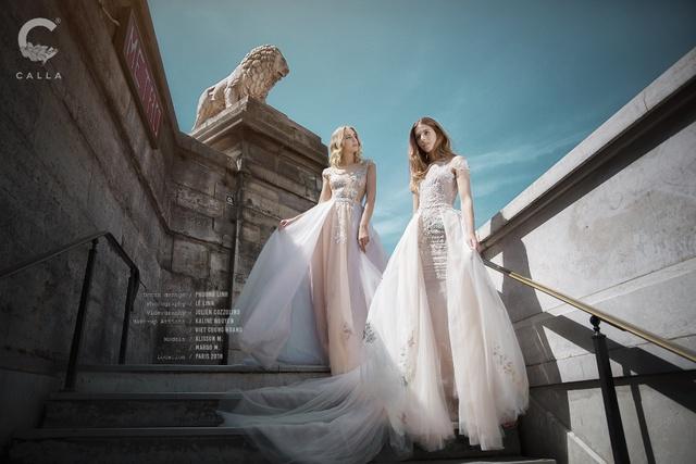 """""""Váy cưới trong mơ"""" Calla của NTK Phương Linh khoe sắc tại Paris hoa lệ - Ảnh 3."""