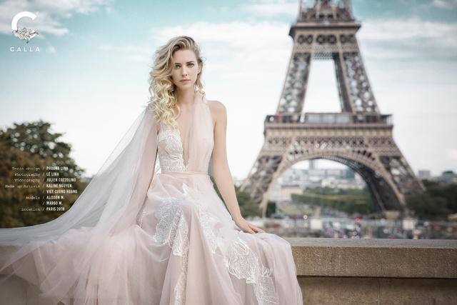 """""""Váy cưới trong mơ"""" Calla của NTK Phương Linh khoe sắc tại Paris hoa lệ - Ảnh 6."""