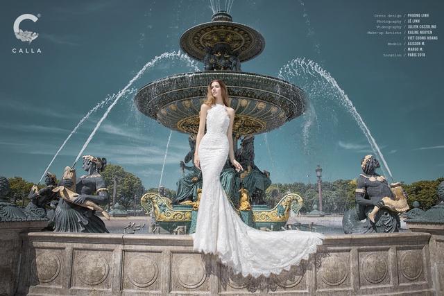 """""""Váy cưới trong mơ"""" Calla của NTK Phương Linh khoe sắc tại Paris hoa lệ - Ảnh 7."""