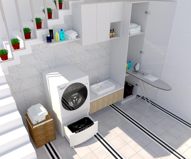 Bí kíp thiết kế góc giặt riêng siêu tiện ích - Ảnh 1.