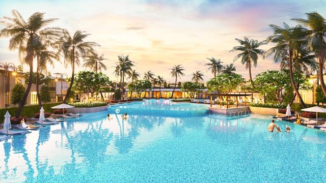 Phối cảnh hồ bơi trung tâm dự án Cam Ranh Mystery Villas.