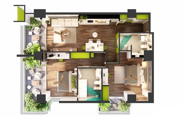 Ariyana cao 28 tầng với 394 căn hộ - khách sạn có diện tích từ 49 – 114m2, bố cục hợp lý, được trang bị 100% nội thất cao cấp.