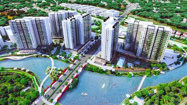 Khu căn hộ Flora Mizuki với hướng nhìn trải rộng ra kênh đào rộng 17.000 m2.