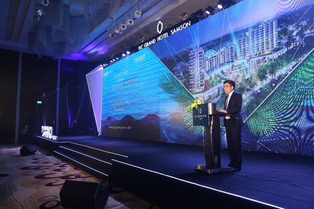 Ông Đàm Quốc Hiệp – Phó Tổng Giám đốc thường trực Danko Group trong Lễ trình làng FLC Grand Hotel Sầm Sơn mới diễn ra ở Hà Nội.