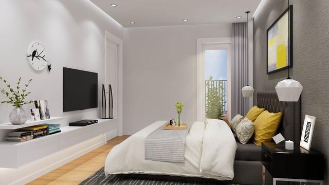 Phòng ngủ master trong căn hộ ICID Complex.