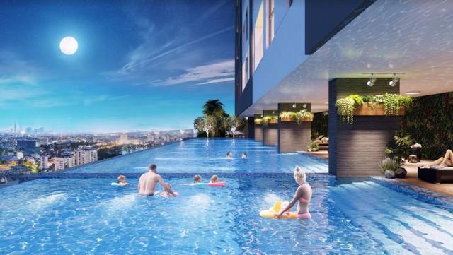 Bể bơi tràn thác mây – 1 trong những tiện ích tiên tiến, vượt trội ở dự án.