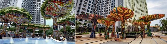 Quảng trường Ruby – dự án Goldmark city do Eden Landscape thiết kế đang trong quá trình thi công hoàn thiện.