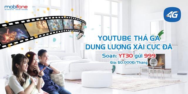 Soạn YT30 gửi 999 là thoải mái truy cập Youtube cả tháng.