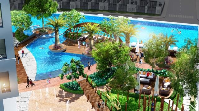 Khu hồ bơi tại đây cũng được thiết kế theo tiêu chuẩn hồ bơi resort.