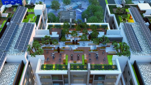Hệ thống sân vườn tràn ngập sắc xanh trên mái tòa nhà.