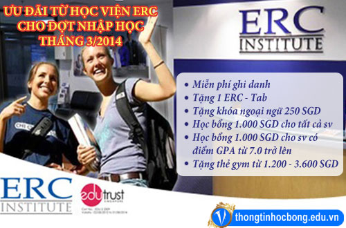 Du học Singapore – Học viện ERC miễn phí ghi danh đến 17/03/2014 1