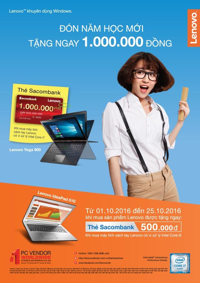 Tặng ngay 1 triệu đồng khi mua máy tính Lenovo - Ảnh 1.