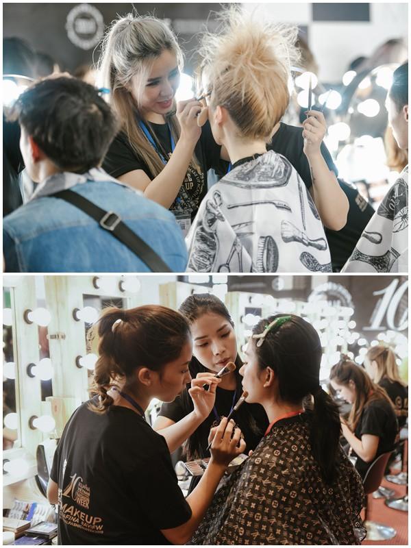 """""""Đột nhập"""" hậu trường Vietnam International Fashion Week VIFW: Không khí làm việc hăng say, chuyên nghiệp của team make up Tina Le - Ảnh 9."""