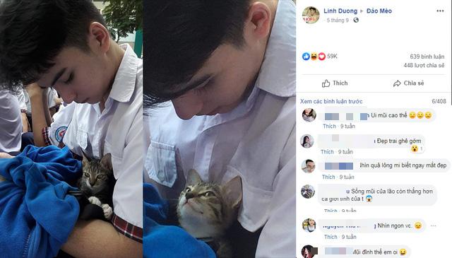 Góc nghiêng tựa nam thần của nam sinh ôm mèo gây xôn xao mạng xã hội - Ảnh 1.