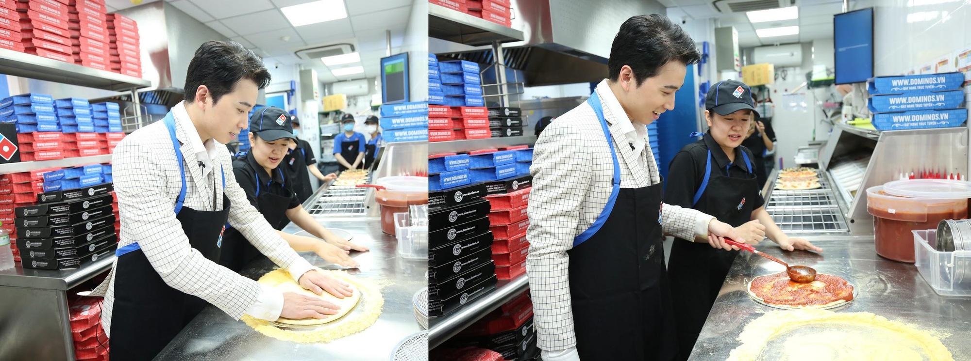 """Sau Chung kết Rap Việt, Karik trở thành """"Hoàng tử pizza"""" khuấy động buổi khai trương cửa hàng thứ 50 - Domino's Phạm Hồng Thái - Ảnh 3."""