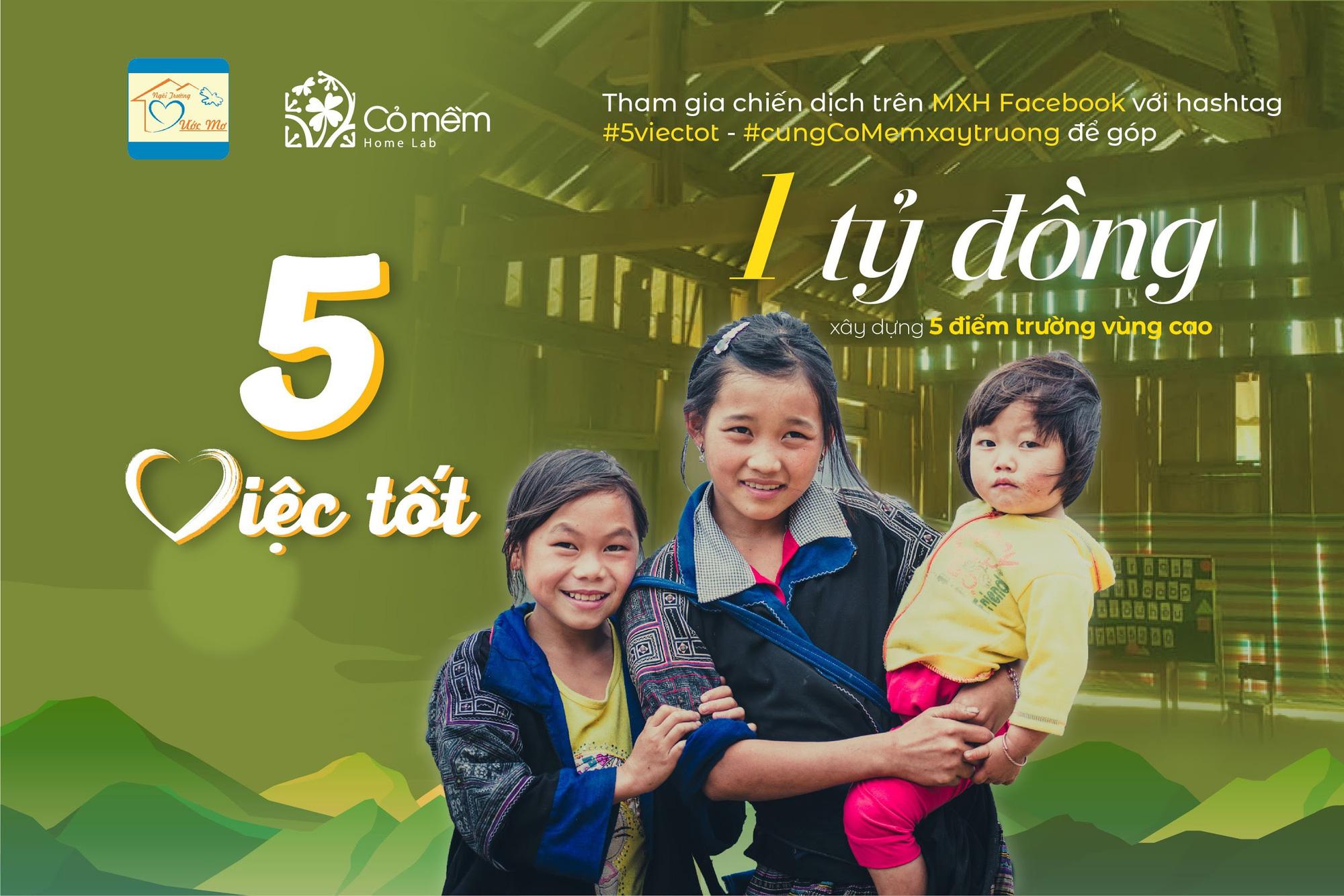 """Chiến dịch """"5 việc tốt"""" phát động góp quỹ xây trường cho trẻ em vùng cao - Ảnh 1."""