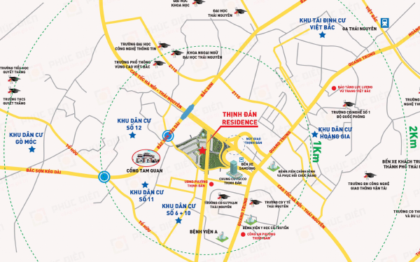 Dự án Khu Dân Cư Số 9 Thịnh Đán (Thịnh Đán Residence) có vị trí chiến lược