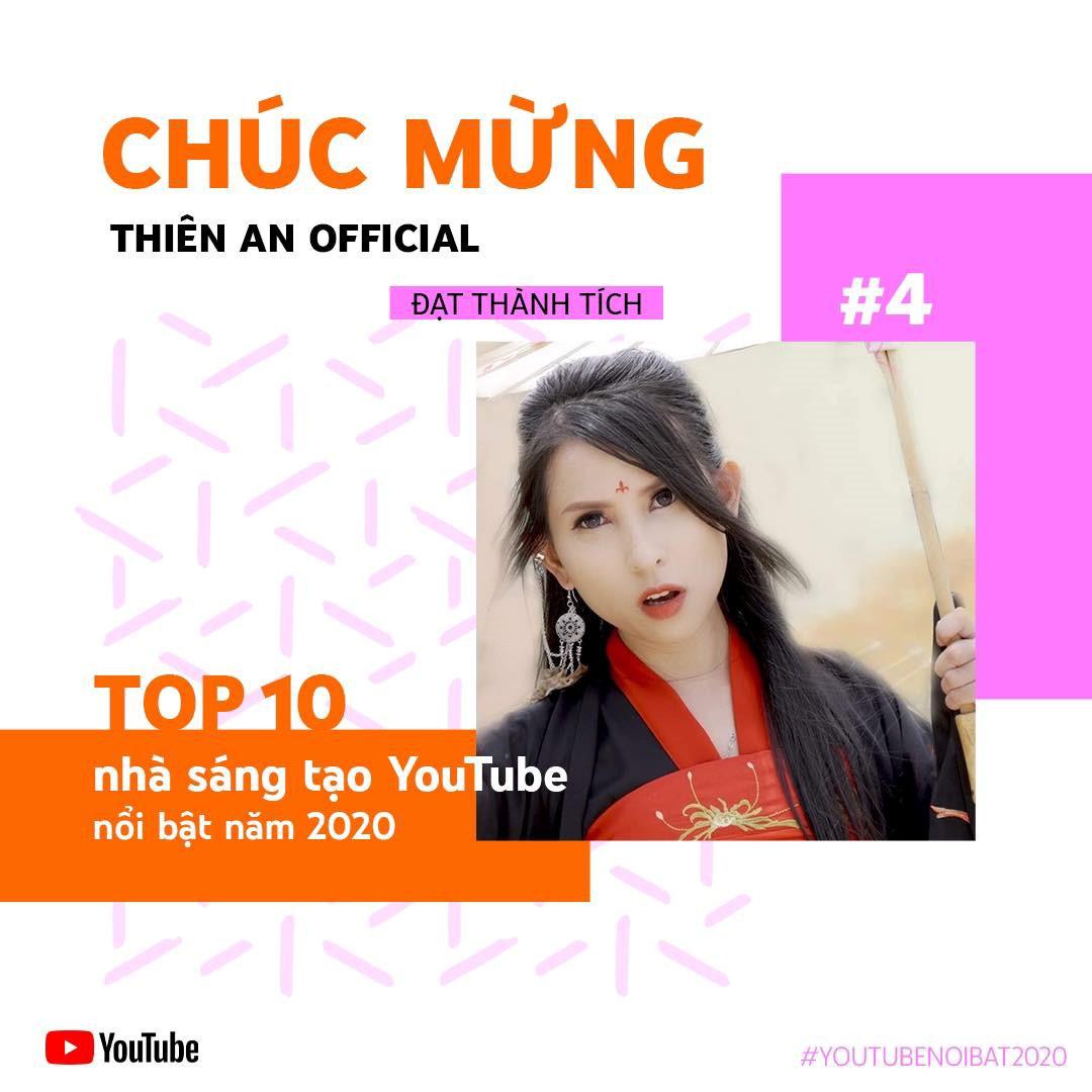 Thiên An Official - Hiện tượng mạng nằm trong top 4 Nhà sáng tạo nổi bật nhất YouTube 2020 - Ảnh 1.