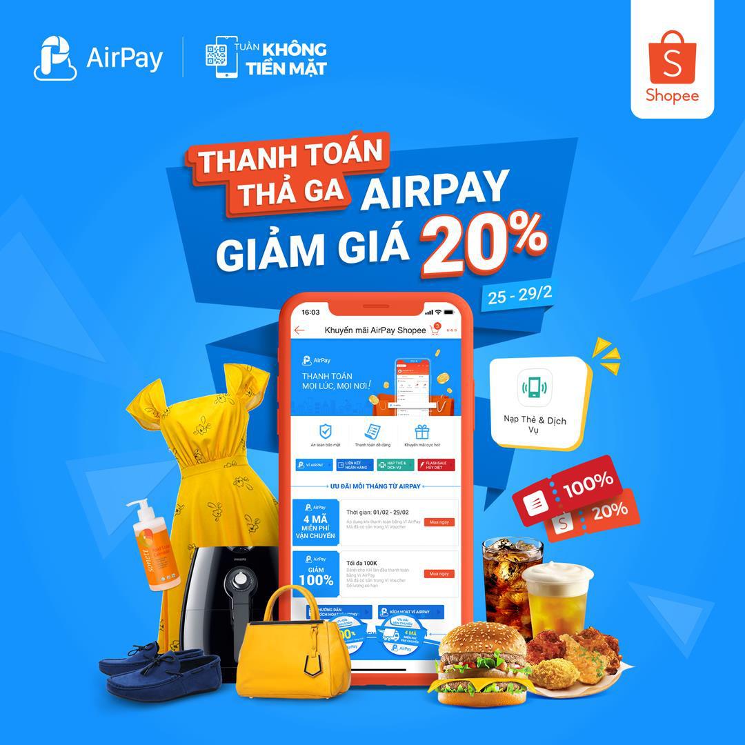 Ăn uống và nạp điện thoại thả ga, AirPay giảm giá 20% trên Shopee từ 25 - 29.02 - Ảnh 4.