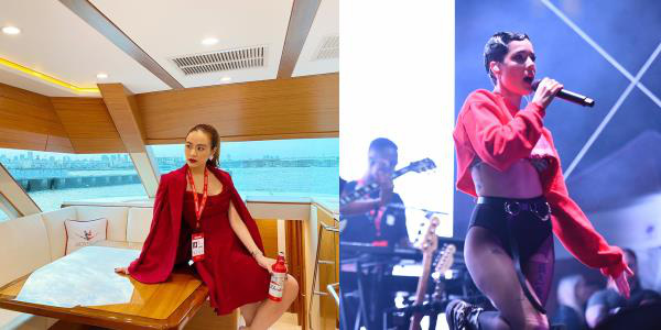 Halsey hóa cô gái Mông, chụp ảnh cùng Hoàng Thùy Linh tại sự kiện đẳng cấp BudXMiami - Ảnh 1.