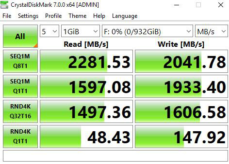 Tốc độ đọc/ghi tuần tự của WD SN550 NVMe 1TB khi chấm bằng CrystalDiskMark 7.