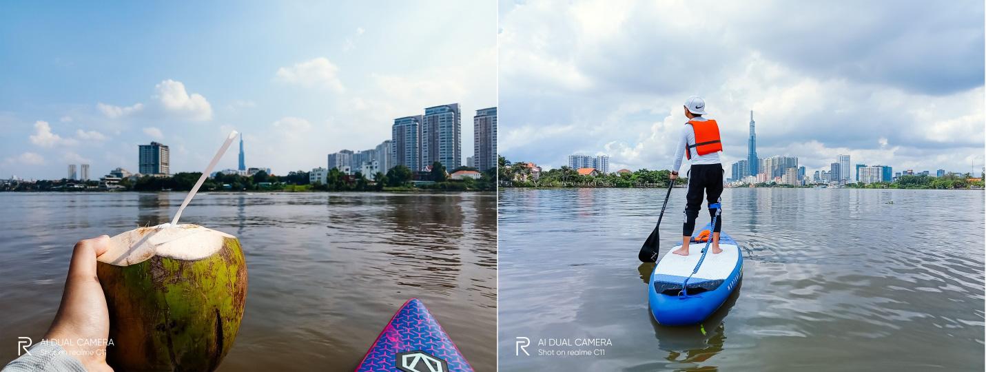"""""""Phiêu lưu"""" sông Sài Gòn chơi thuyền SUP cùng Realme C11 - Ảnh 4."""