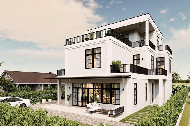 Thiết kế biệt thự 2 tầng kiểu châu Âu với thiết kế đẹp và ấn tượng