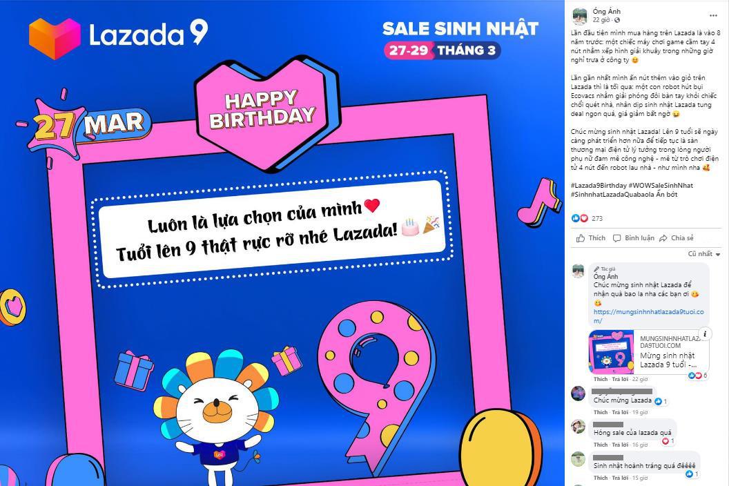 Biết Lazada nhiều fan, nhưng không ngờ khủng đến vậy, nhìn lời chúc sinh nhật lần 9 từ dàn KOL cho đến thường dân tràn ngập Facebook mà choáng - Ảnh 2.