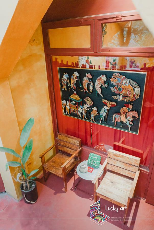 Độc đáo bộ tranh gỗ cầu tài lộc âm hưởng văn hoá dân gian - Ảnh 1.