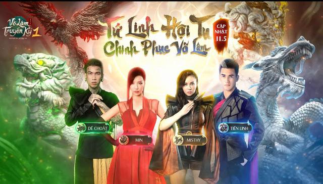 """Min, MisThy, Tiến Linh và Dế Choắt khiến fan mê mẩn với tạo hình quá đỗi ấn tượng trong video """"Tứ Linh Hội Tụ"""" của Võ Lâm Truyền Kỳ 1 Mobile - Ảnh 1."""