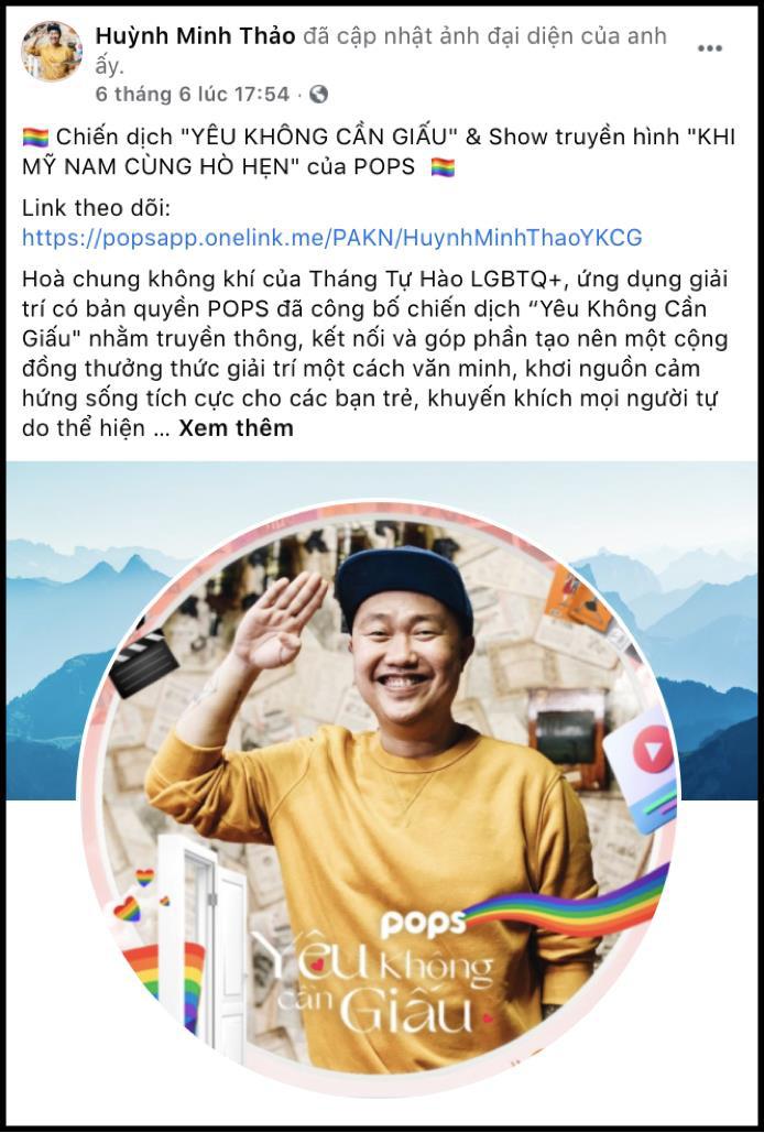 """Dàn hot face đồng loạt đổi avatar Facebook hưởng ứng tháng Tự hào LGBT+ cùng chiến dịch """"Yêu không cần giấu"""" - Ảnh 3."""