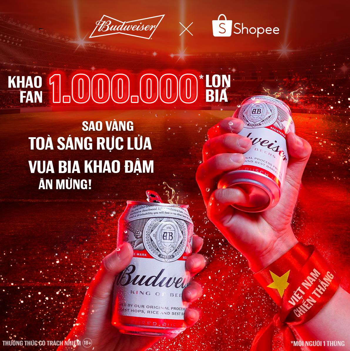"""Budweiser nói là làm: Tặng 1.000.000 lon bia """"khao"""" cổ động viên mừng kỳ tích Việt Nam lần đầu lọt vòng loại cuối World Cup 2022 - Ảnh 2."""