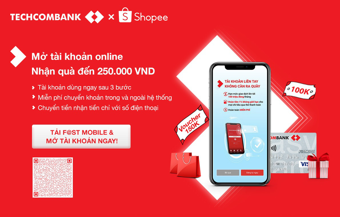 Lướt Shopee thả ga với tài khoản Techcombank miễn phí, mở online dùng ngay sau 5 phút - Ảnh 3.