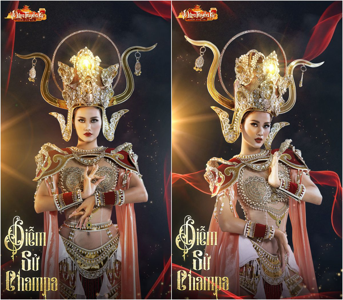 Người mẫu Hương Ly và Quỳnh Anh hóa nữ thần Chăm Pa kiêu sa trong bộ sưu tập mới - Ảnh 3.