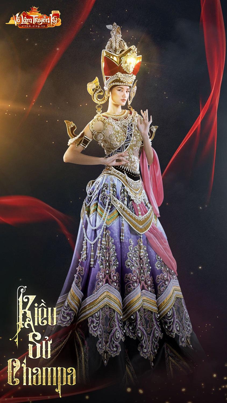 Người mẫu Hương Ly và Quỳnh Anh hóa nữ thần Chăm Pa kiêu sa trong bộ sưu tập mới - Ảnh 4.