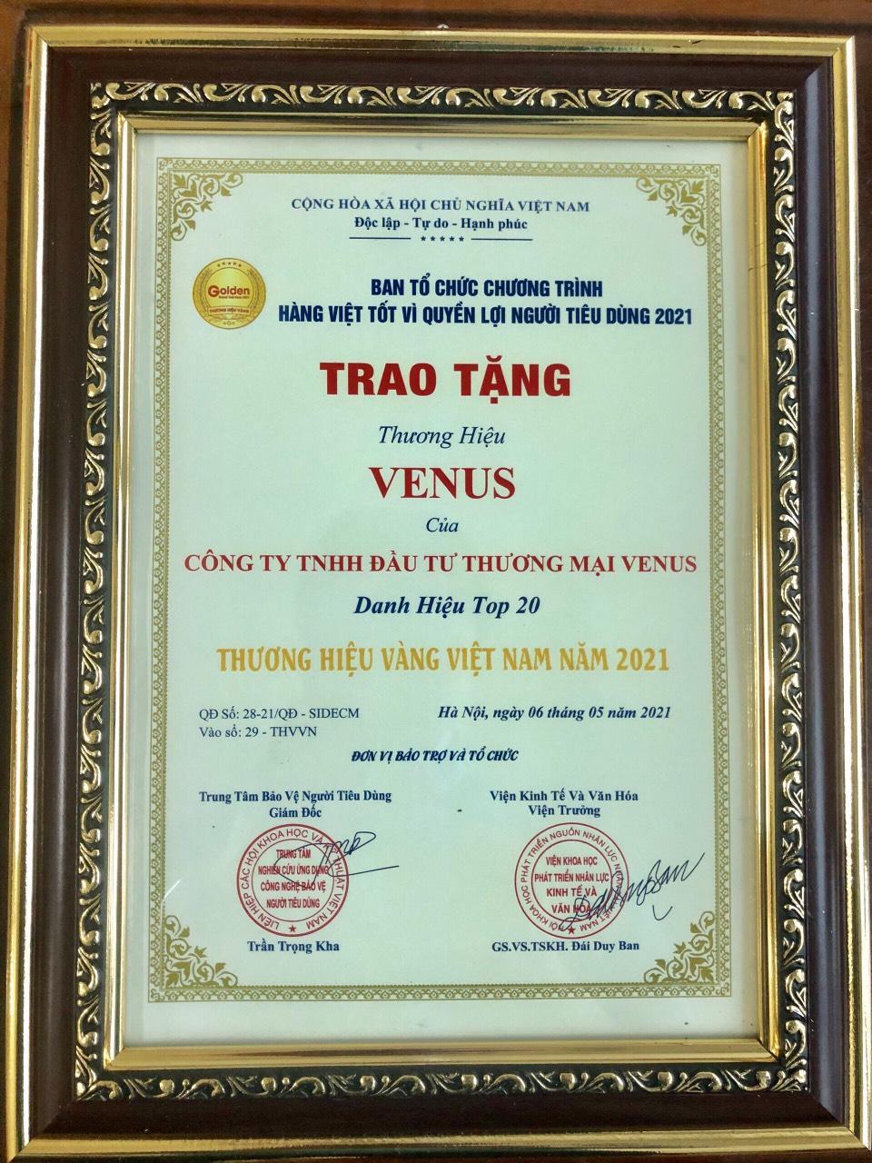 Venus vinh dự nhận giải thưởng Top 20 Thương hiệu Vàng Việt Nam năm 2021