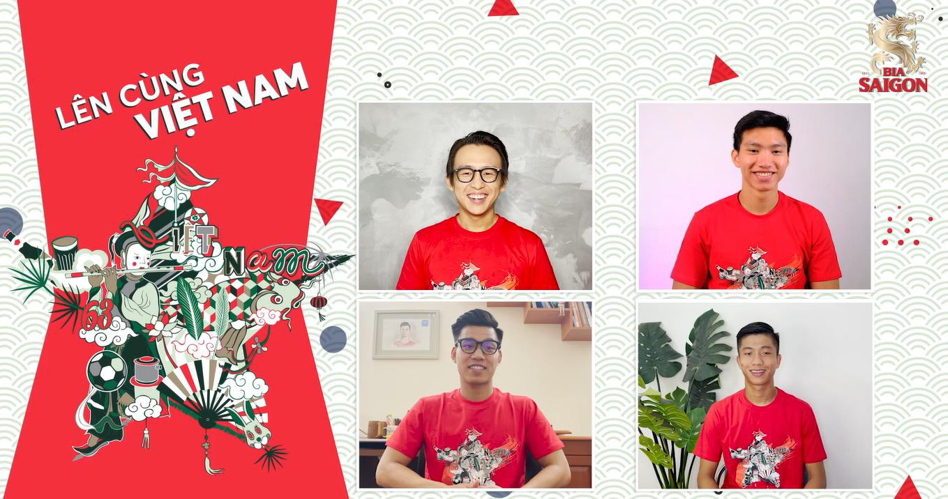 Bộ ba Văn Hậu, Văn Thanh, Văn Đức diện đồng phục cổ vũ tinh thần các bạn trẻ - Ảnh 1.