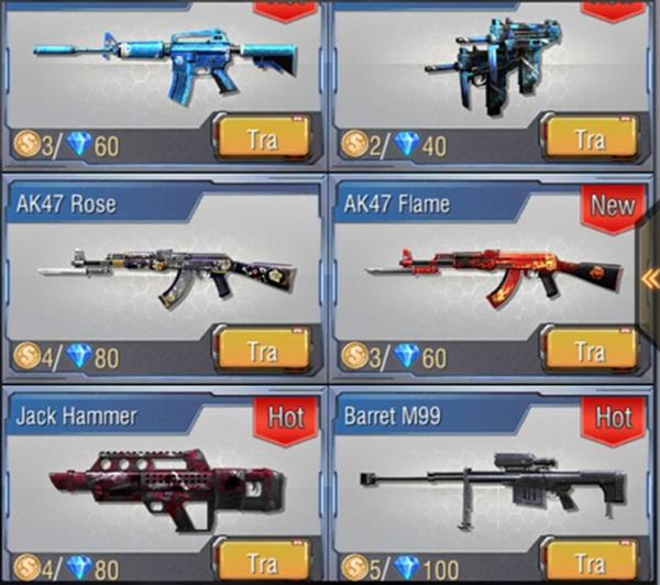 Người chơi có thể mua vũ khí vĩnh viễn bằng kim cương kiếm được trong quá trình chơi game