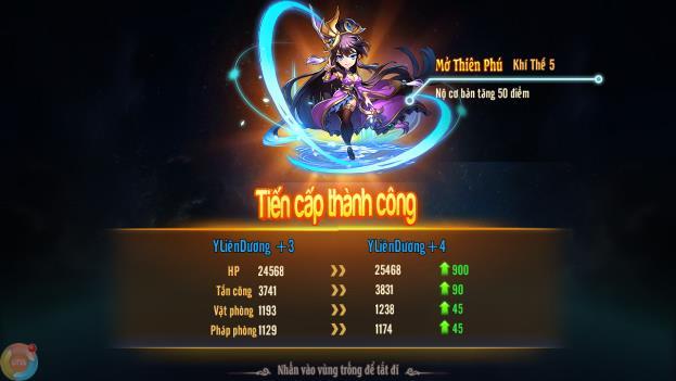 Tiến Cấp mở ra Thiên Phú mới, đồng thời tăng hàng loạt chỉ số của nhân vật.