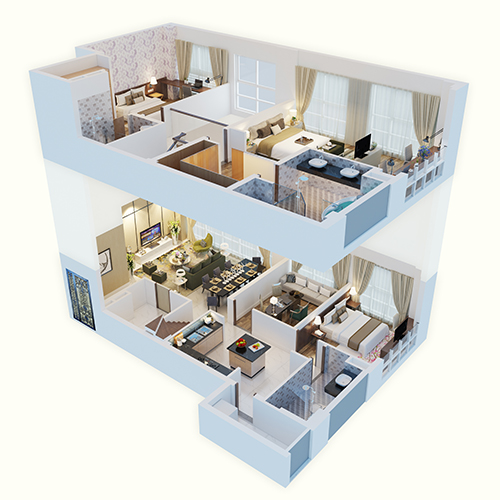 Cấu trúc nhà 2 tầng, qui mô từ 169m2, nên một vài không gian tính năng rộng rãi đúng chuẩn villa.