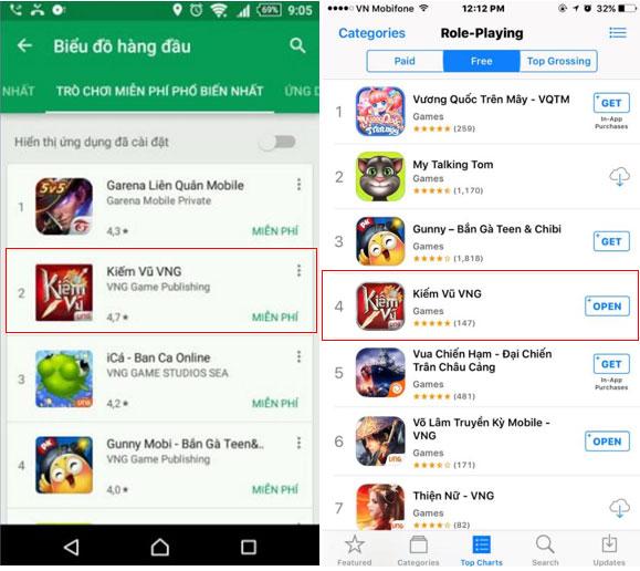Kiếm Vũ Mobi VNG thuộc top 5 ứng dụng game miễn phí