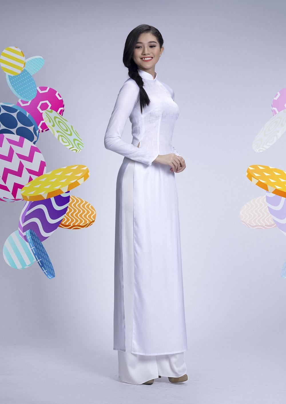 Đẹp tinh khôi với áo dài trắng lấy cảm hứng từ hội họa - Ảnh 3.