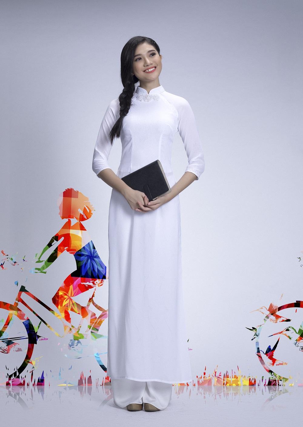 Đẹp tinh khôi với áo dài trắng lấy cảm hứng từ hội họa - Ảnh 7.